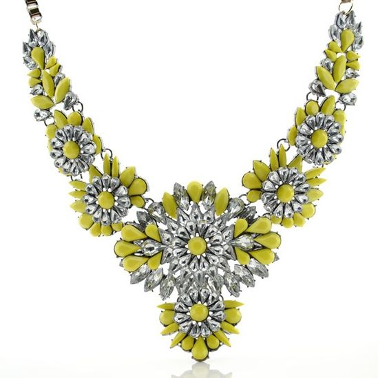 Yellow Crystal Flower Statement Necklace $85
