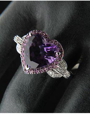 Δαχτυλίδι λευκόχρυσο Κ18 με Διαμάντια & Αμέθυστο