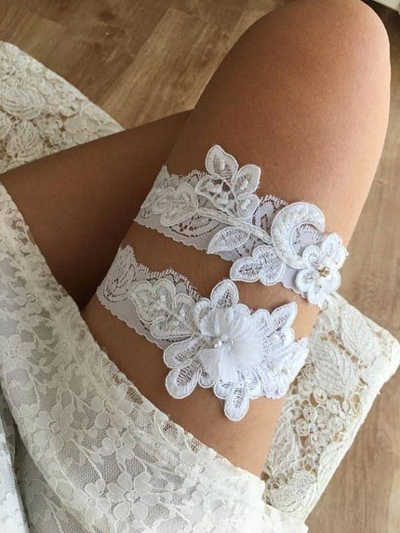 White Lace Garter Wedding Set Bridal Country Shabby Chic Navy Belt Sandals