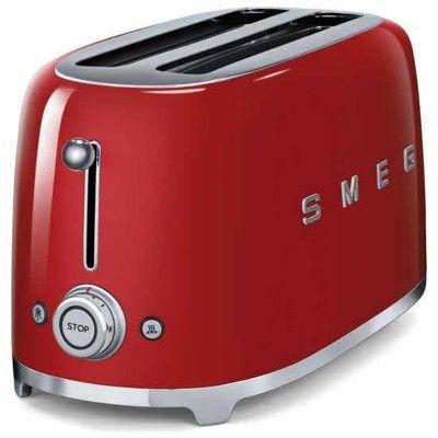 Best Price SMEG Retro Style 4 Slice Toaster in Red at Atlantic Electrics UK #bestpricesmegappliances #toaster #kitchenappliances