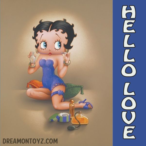HELLO LOVE For more Betty Boop graphics, go to: http://bettybooppicturesarchive.blogspot.com/ ~And on Facebook~ https://www.facebook.com/bettybooppictures  Betty Boop sampling colognes and perfumes