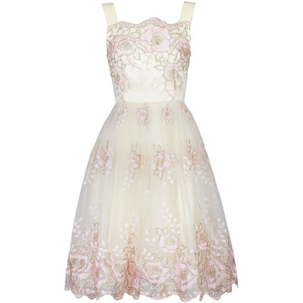 Jolie Moi Metallic Floral Lace Prom Dress (£43) ❤ liked on Polyvore featuring dresses, beige, clearance, lace prom dresses, floral cocktail dress, holiday cocktail dresses, white evening dresses and white dress
