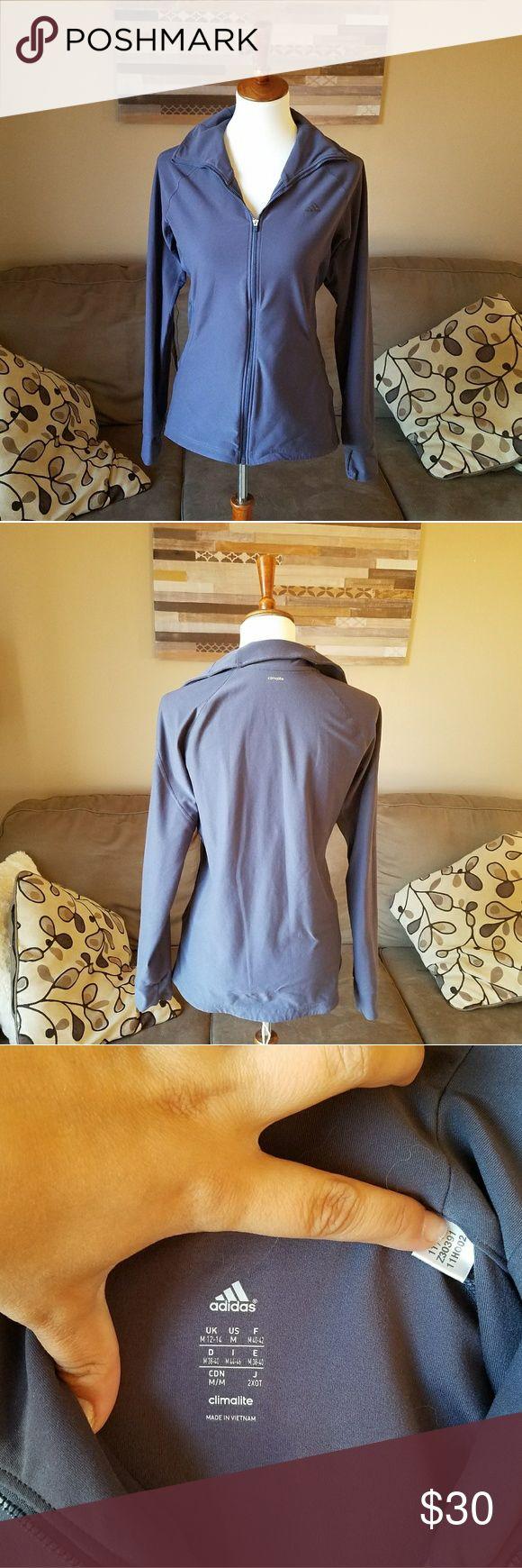 Adidas Stormy Blue Zip Up Track Jacket Gently used.  Stretch . Pockets .  #070904 adidas Tops Sweatshirts & Hoodies