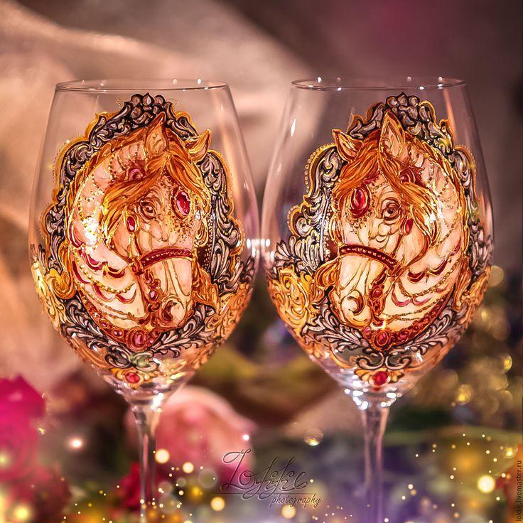Купить Винные бокалы - Сказочные Кони - подарок девушке, подарок женщине, подарок, на юбилей