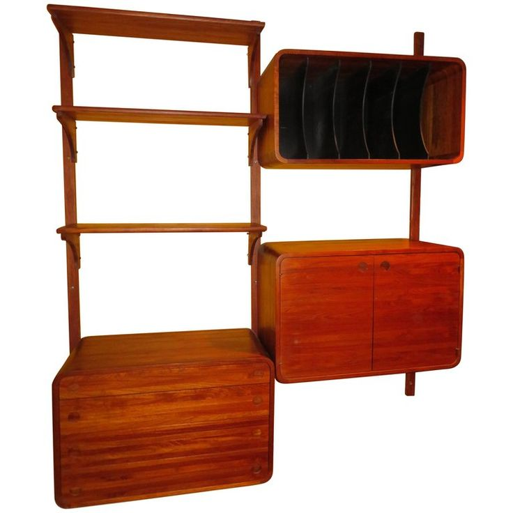 Unusual Two Bay Solid Teak Stereo Wall Unit Woodcraft Mid ...