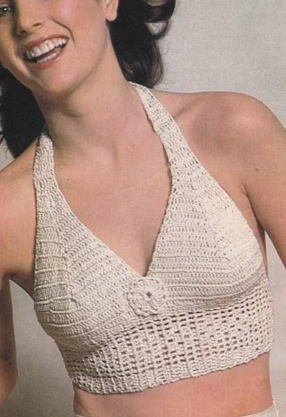 Vintage Crochet Summer V Neck Halter Top PDF Pattern Instant download