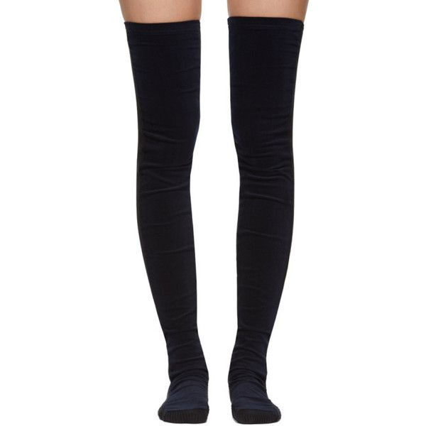 Sacai SSENSE Exclusive Navy Velvet Thigh-High Socks ($155) ❤ liked on Polyvore featuring intimates, hosiery, socks, navy blue hosiery, navy hosiery, sacai, navy socks and thigh high hosiery