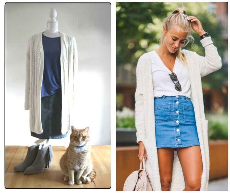 Get inspired by Pinterest. I adapted this outfit to my age.  Mine: Cardigan Miss Etam, shirt Primark, skirt NED,  Boots Via Vai.  The appearance of my cat was a bonus  ;)