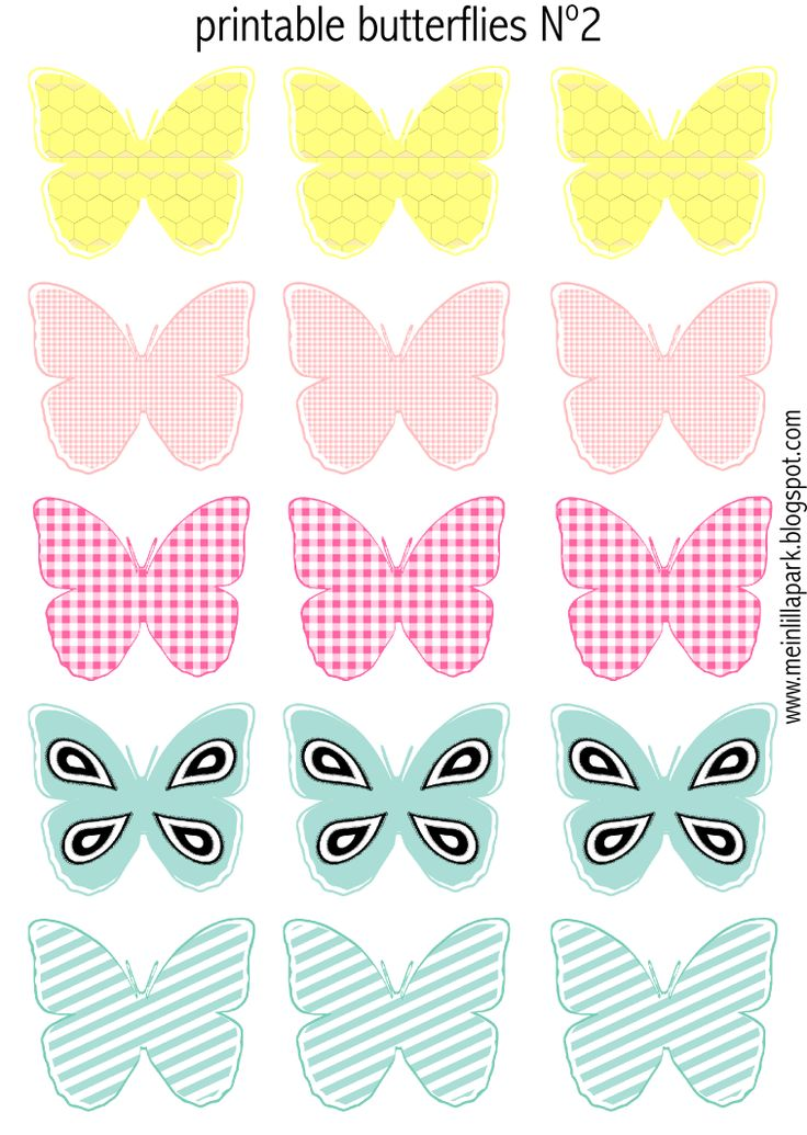Free printable pastel colored butterflies - Schmetterling Druckvorlagen - freebie | MeinLilaPark – digital freebies