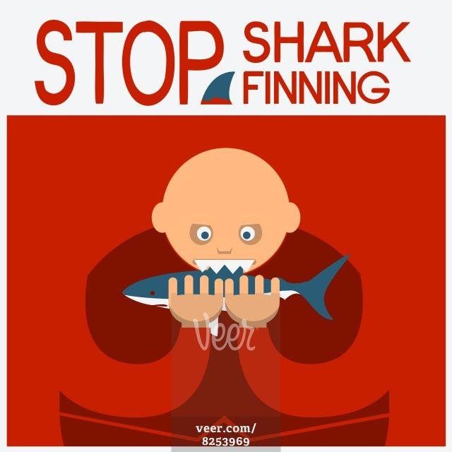 Vector symbol poster with man head eating shark  Stock Illustration