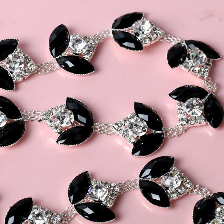 Sewing Craft Trim Rhinestone One Black Cup Chain Rhinestone Cup Chain Crystal Ab Silver Tone Rhinestone Trim Silver Pretty Chain