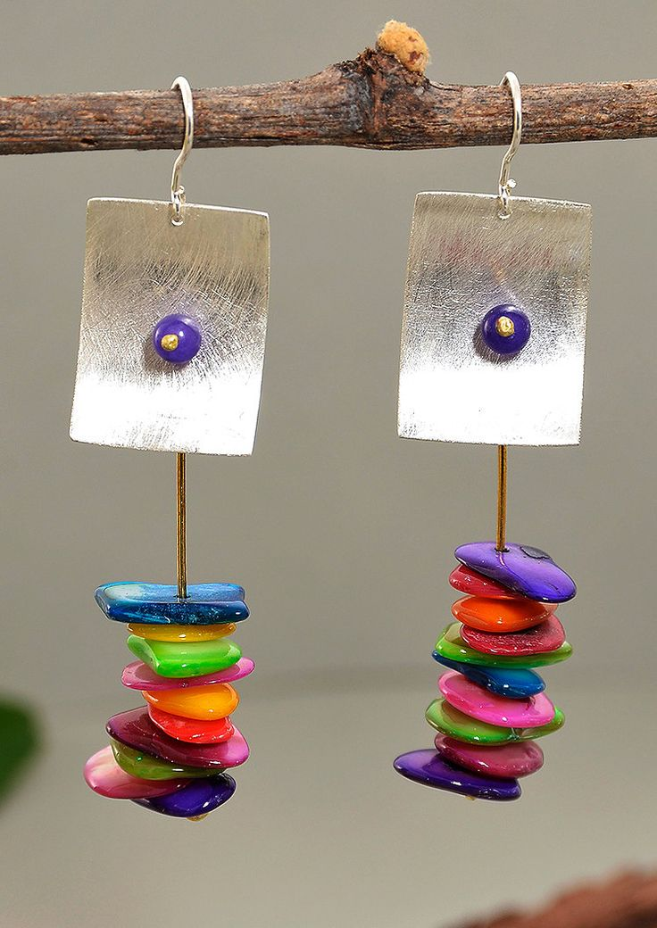 Silver drop rectangular earrings with hanging brass wire , multicolor pearl shell and purple jade by NataliaNorenasilver on Etsy