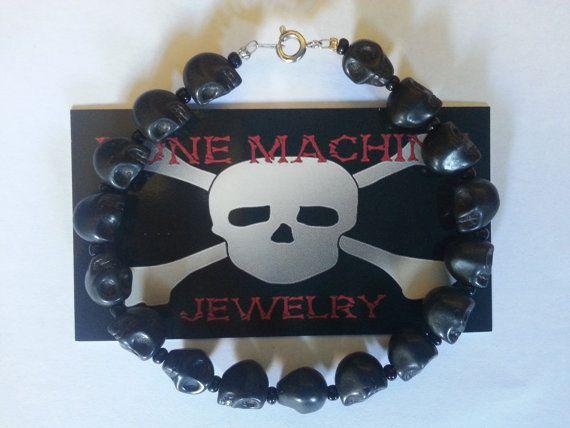 Black Howlite Skull Bracelet. by BoneMachineJewelry on Etsy, $12.50