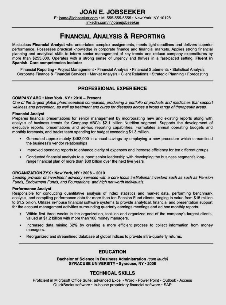 4219 best job resume format images on pinterest | job resume ... - E-resume Examples