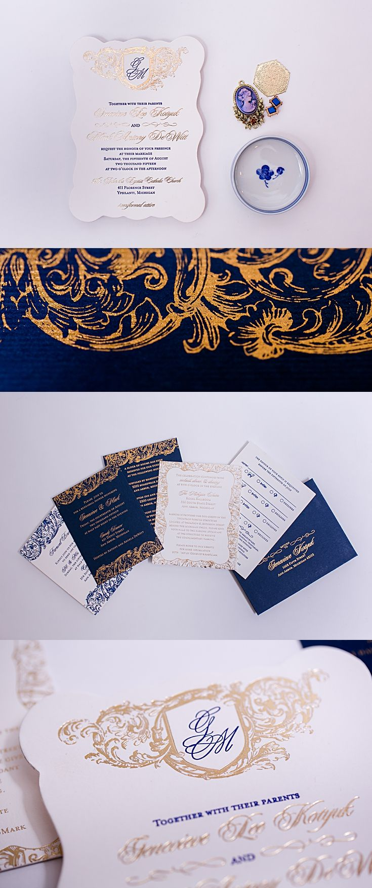 reply to wedding invitation m%0A Designed for a U of M Michigan wedding  these navy and gold invitations  were designed