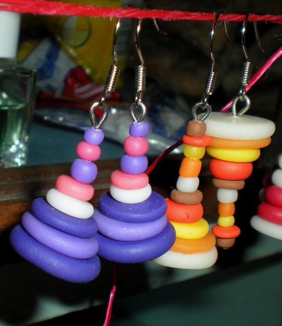 Polymer clay earrings Two pairs pack handmade by Inspiration2Art, $19.00