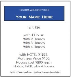 I've created a downloadable PDF where you can type in all the information you want to appear on your custom Monopoly property cards, and then...
