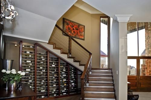 Furniture, Contemporary Staircase Under Stair Storage System That Look So Neat And Beautiful For Some Bottles Of Wine With Comfortable Chair And Flower Vase Also The Hanging Lamp On The Wall ~ Create The Neat Design With Under Stair Storage System