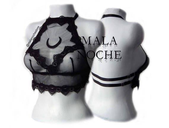 Bralette mesh, lace , dark lingerie , sexy bralette, hot lingerie, crop top moon, top halter neck, lace mesh, goth lingerie