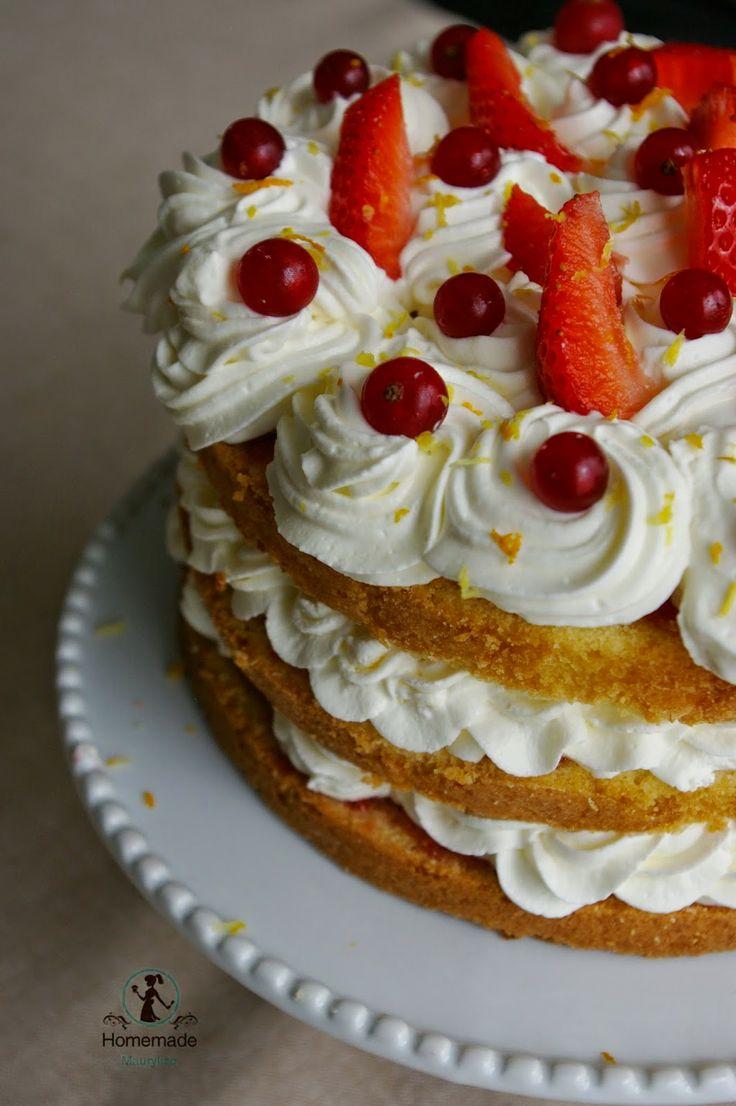 Layer Cake orange- chantilly mascarponne citron - gelée de groseille - fraises fraiches / Homemade Marylise  http://homemademaurylise.blogspot.fr/2014/05/layer-cake-bataille-food-12.html