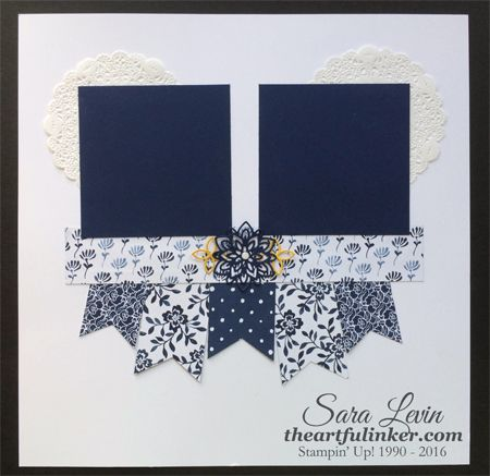 Sara Levin | theartfulinker.com An August Scrapbook Club layout using Floral Boutique ( Stampin' Up! ) Click for details.