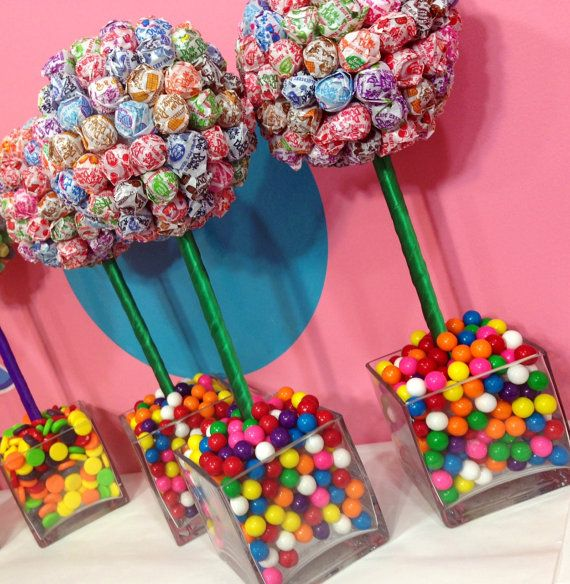 Rainbow dum gum ball candy land centerpiece topiary