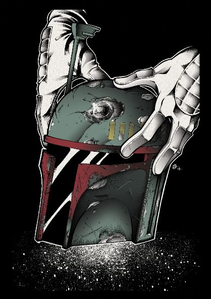 Boba Fett art print created for the Big Care Event in Leicester by JL Straw. Jeremy Bulloch attended signing copies. 4 colour Screen Print ltd to 60 copies.