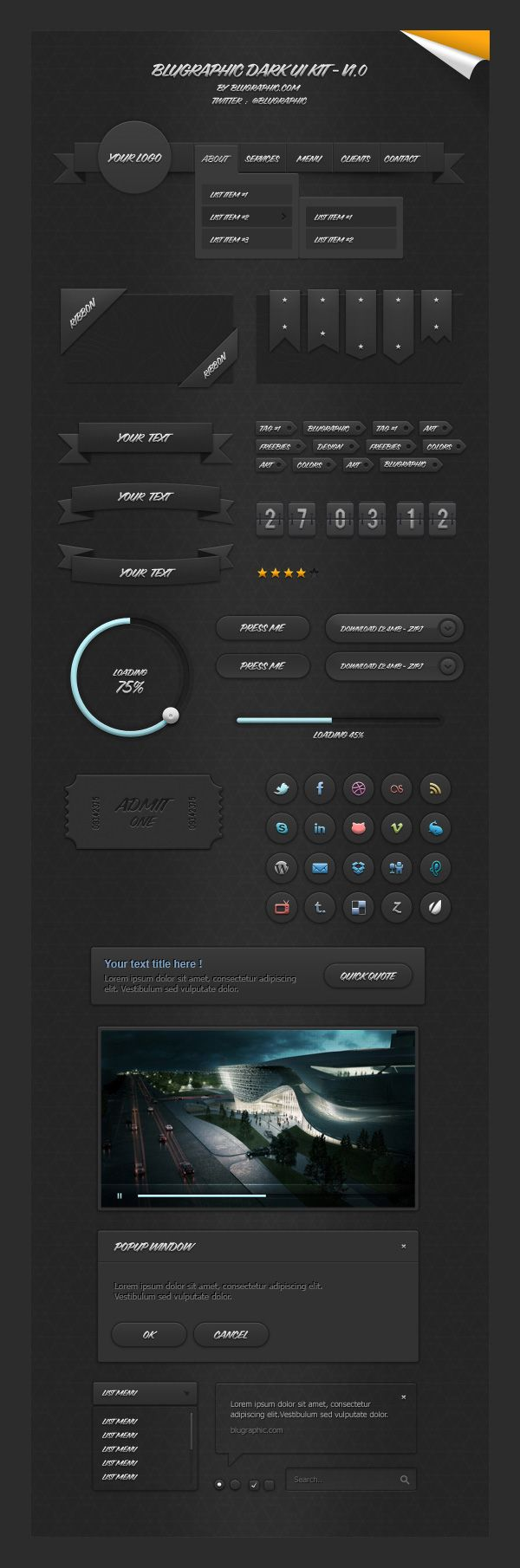 Blugraphic Dark UI Kit