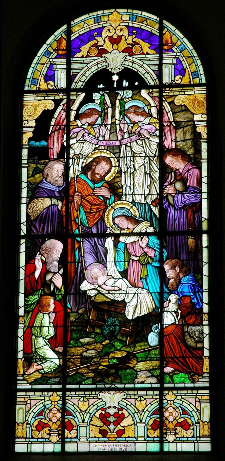 "Stained glass window ""Nativity"", Holy Trinity Ukrainian Catholic Church, Youngstown Ohio, installed 1920"