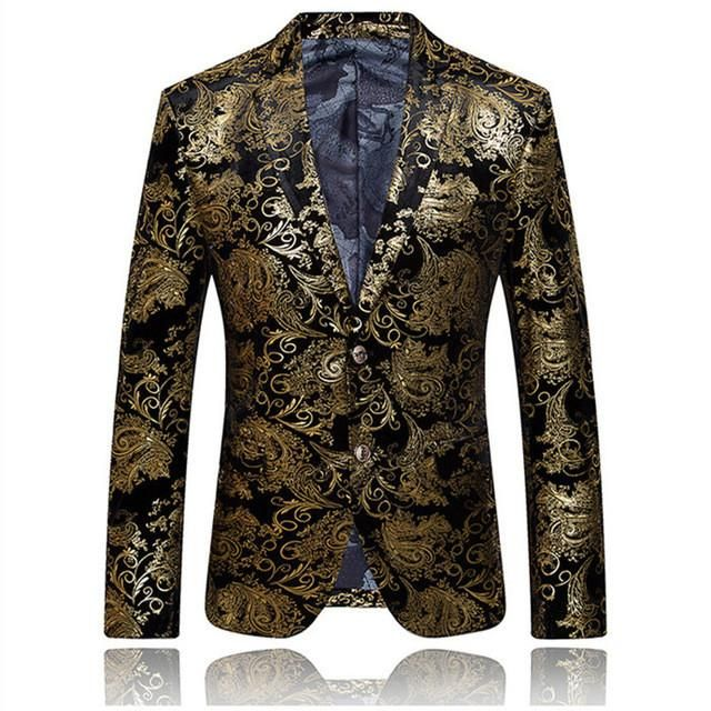 Men Suits Fire Kirin Gold Blazer For Men Luxury Brand Mens Embroidered Blazer Stage Costumes For Singers Slim Fit Wedding Prom Blazers Q51