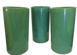 Vintage California Pottery Large Glazed Vessels  MidCentury  Modern, Ceramic, Boxes  Container by Suzan Fellman Llc