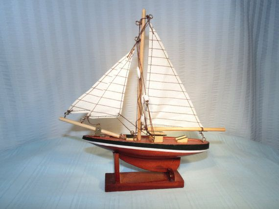 Nautical Desk Decor Vintage Wooden Boat And by SandiesGiftCorner