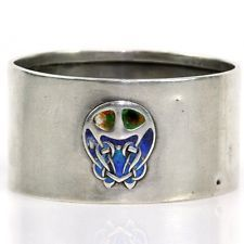 Archibald Knox Liberty & Co Silver Enamel Arts & Crafts Cymric Napkin Ring 1903
