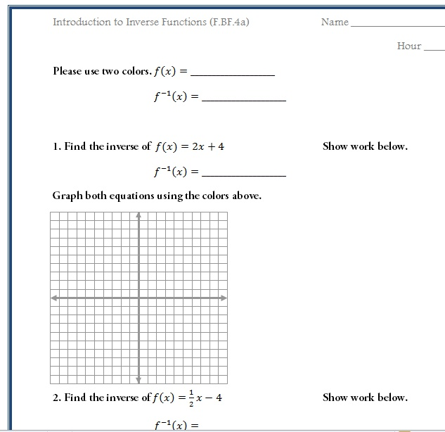 Free Worksheet To Introduce Inverse Functions Common Core Math F Bf 4 Inverse Functions Graphing Linear Equations Trigonometry Worksheets