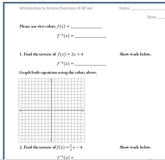 Printables Algebra 2 Inverse Functions Worksheet inverse function worksheet davezan functions algebra 2