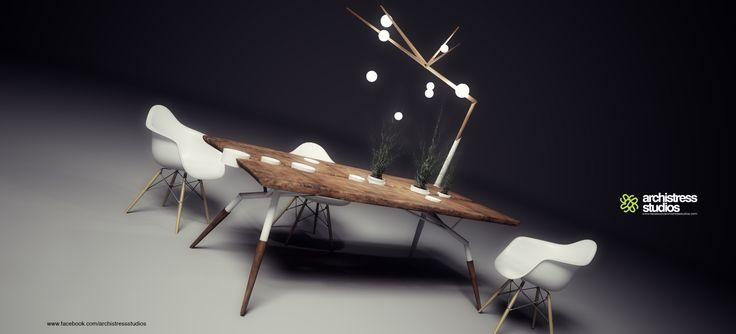 archistress studios design team - table product design corian & wood