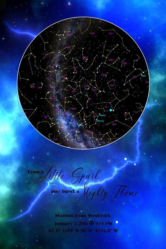 Custom Star Map Thunder Lightning Milky Way Galaxy Blue Real My