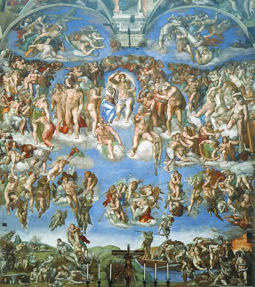 The Last Judgement after it was cleaned by a Japanese company for the exclusive rights to photograph it up close. Thanks to them, the entire Sistine ceiling is fully veiwable from the floor for the first time in 500 yrs.