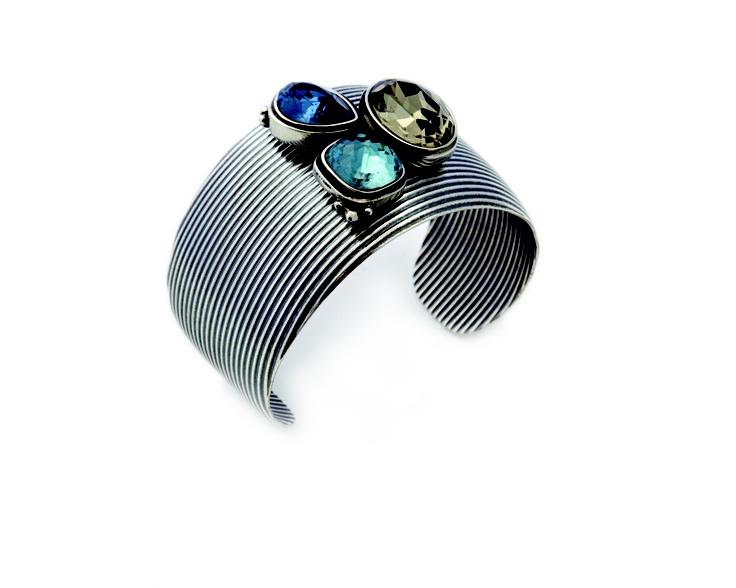 Bold and textured burnished silver cuff encrusted with Denim Blue, Smoked Topaz and Indian Sapphire Swarovski Crystals (B1147)