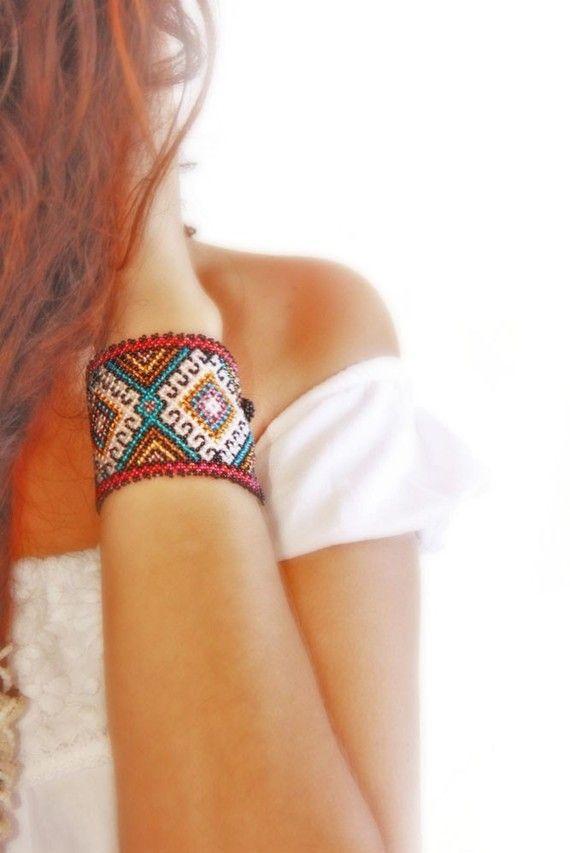 Huichol Dreams - pun ¢ o pulsera joyería étnica colección rebordeado pulsera de pic (1 & 2) Joyería caprichosa indígena nativa hecha con amor y