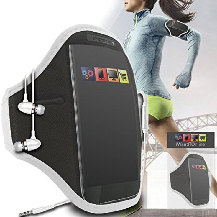 IWIO Huawei G9 Plus Mobile Smart Phone Gym Jogging Running Sports Armband Case Cover and 3.5mm Aluminum Headphones Hands free - WHITE - Brought to you by Avarsha.com