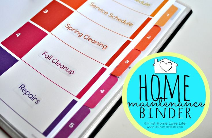 Learning to be Organized…Creating a Home Maintenance Binder via www.firsthomelovelife.com
