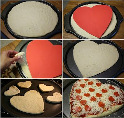 step by step photos on how to make heart shaped pizza