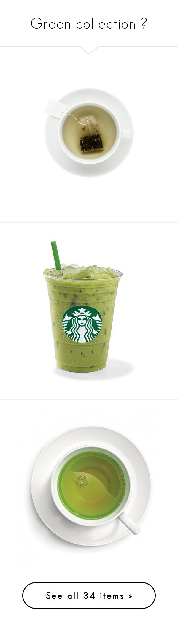 """""""Green collection 🌿"""" by sidney-roignant ❤ liked on Polyvore featuring fillers, food, drinks, tea, food and drink, starbucks, backgrounds, detail, embellishment and round"""