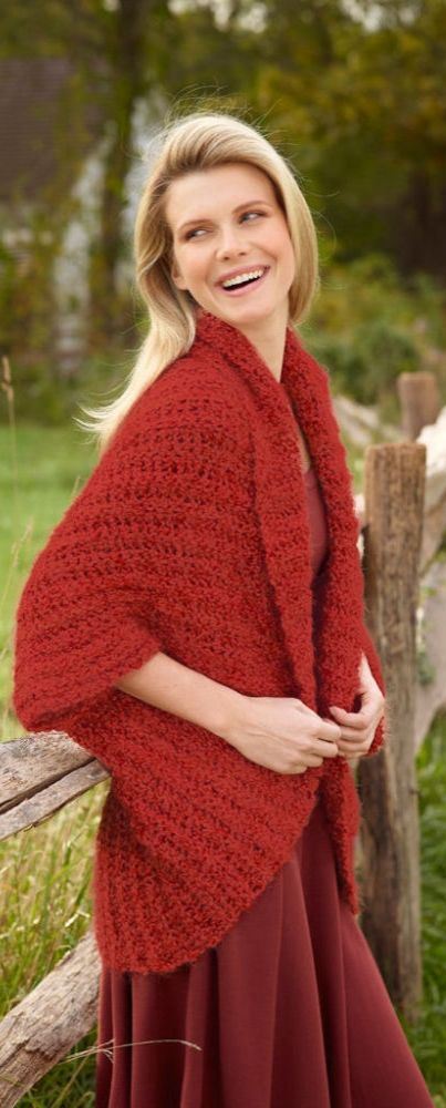 Be warm and stylish in this DIY Lion Brand® Homespun® Thick & Quick® Simple Crochet Shrug