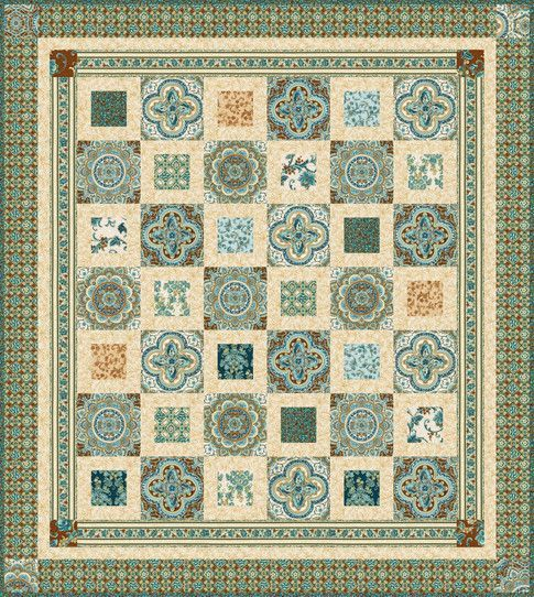 SRKM-17053-12 Villa Glazed Tile Floral on Grey