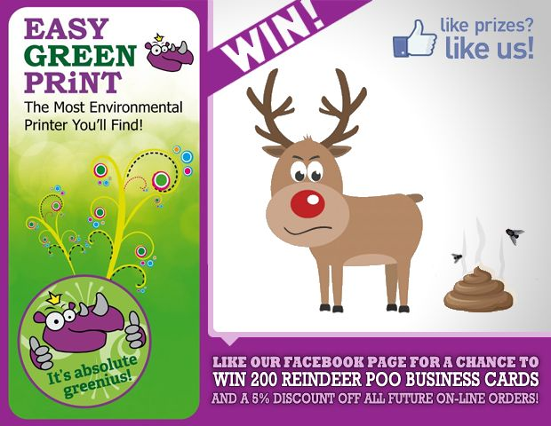 Win 200 FREE Reindeer-Poo Business Cards at EasyGreenPrint.co.uk
