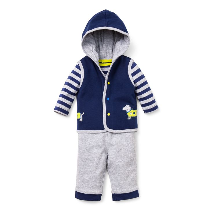 Dashing Dachshund 3 Piece Vest Set - 3 piece outfit includes a vest with a hood for 3 month to 9 month baby boy