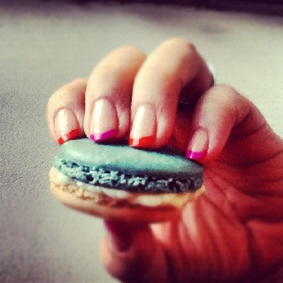 My neon French manicure and favorite treat, French macarons #iheartnailart