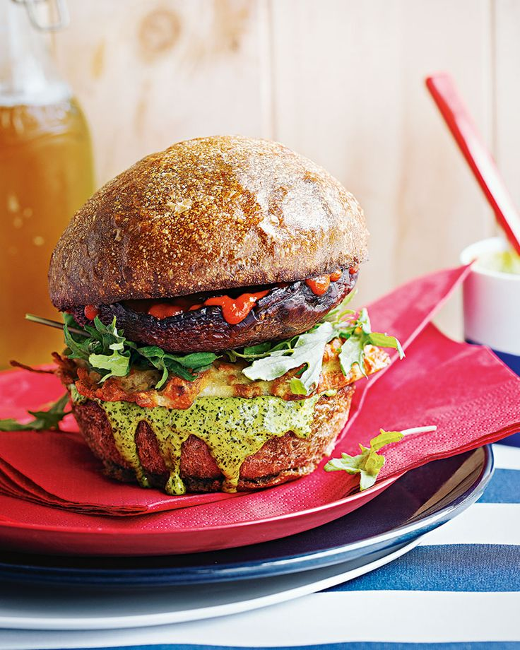 A crispy halloumi hash brown, baked portobello mushroom and garlicky kale alioli are sandwiched between toasted buns to make a vegetarian burger so good, meat eaters won't even notice it's meat-free.